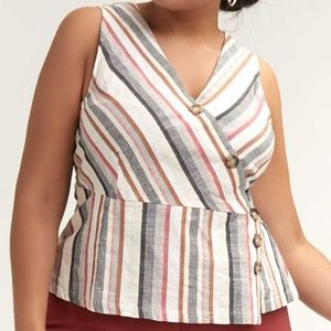 Love & Legend   Striped Cotton Blouse with Buttons